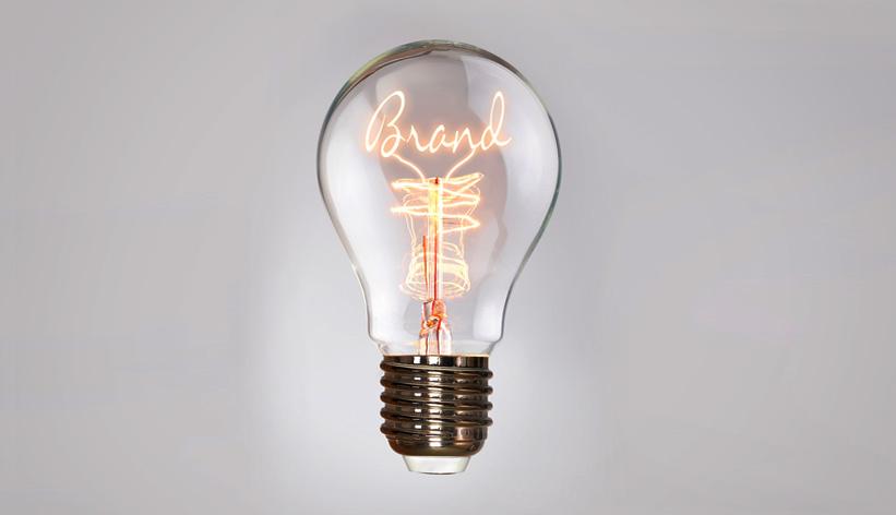 light bulb with brand name inside