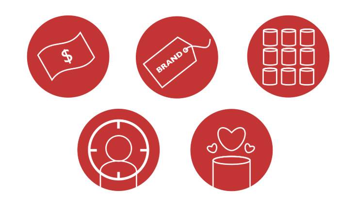 5 red icons showing packaging design considerations