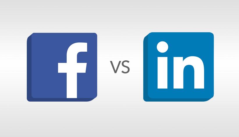 Facebook logo versus LinkedIn logo