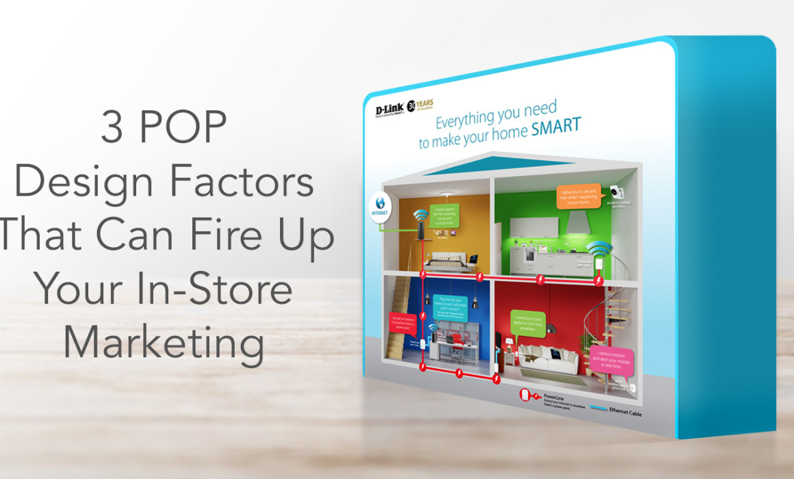 A sample POP display beside the title '3 POP Design Factors That Can Fire Up Your In-Store Marketing'
